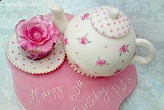 """Time for Tea? Teapot cake made for a Teapot collector - vanilla sponge,raspberry jam & vanilla buttercream. Beautiful Cakes, Amazing Cakes, Fondant Cakes, Cupcake Cakes, Teapot Cake, Pink Teapot, Vanilla Sponge, Salty Cake, Cake Trends"