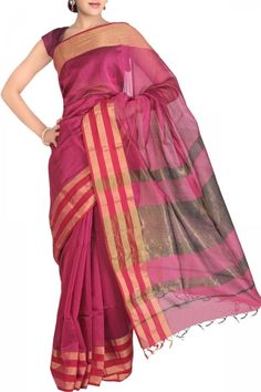 Purple Fuchsia Cotton Silk Maheshwari Saree. India's Best Ethnic Wears & Wares. Shop Online at www.ethnickart.com