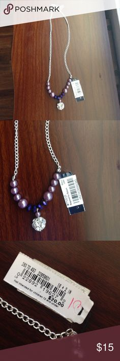 Macy's sparkly beaded necklace on a chain Macy's purple beaded necklace on a silver colored chain with sparkly middle. Macy's Jewelry Necklaces