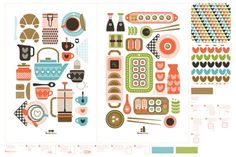 Cute coffee and sushi themed cut and sew tea towels