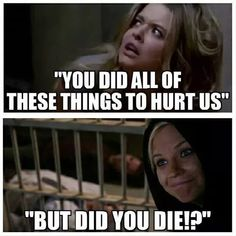 PLL~if no one dies then its fine to do it, ceces logic Pll Quotes, Pll Memes, Funny Quotes, Preety Little Liars, Pretty Little Liars Quotes, Pll Logic, Little Memes, Face Expressions, Netflix