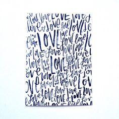Love Hand Lettered Modern Calligraphy 5x7 Art Print by PosiPrints on Etsy