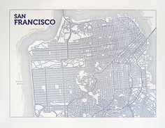 San Francisco (Blue)   Typographic Maps