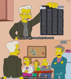 Funny pictures about Art School. Oh, and cool pics about Art School. Also, Art School photos. Simpsons Simpsons, Simpsons Quotes, Funny Cute, Haha Funny, Funny Jokes, Hilarious, Funny Stuff, Awesome Stuff, Funny Things