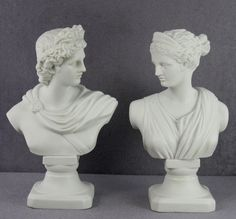 Exquisite Antique English Parian Classical Busts of Diana and Apollo C. 1880-1910