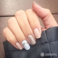 "New TruShine gel ""Latte"" and ""Party Dress."" ""Gatsby"" accent wrap. https://vaniangolds.jamberry.com"