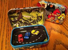 Toy Car Kits in an Angry Bird Altoid Tin by SarahsTins on Etsy, $10.00