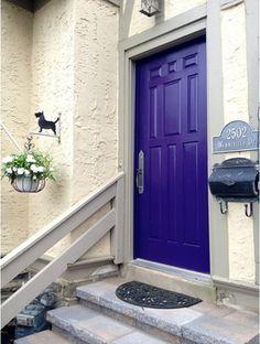 The Pink Chalkboard: Purple Door Update Purple Front Doors, Purple Door, Painted Front Doors, Shed Playhouse, Lace Window, Backyard Sheds, Brickwork, Play Houses, How To Take Photos