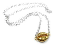 Silver Necklace - Cowrie Chunky Silver Necklace, Sterling Silver Jewelry, Shells, Plating, Sparkle, Pendant Necklace, Chain, Gold, Conch Shells