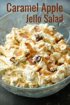 Jello Salad Caramel Apple Jello Salad - the best side dish or dessert!Caramel Apple Jello Salad - the best side dish or dessert! Fluff Desserts, Jello Desserts, Jello Recipes, Dessert Salads, Fruit Salad Recipes, Apple Recipes, Creamy Fruit Salads, Apple Jello Recipe, Marshmallow Fruit Salads