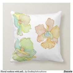 Floral cushion with yellow and brown flowers Floral Cushions, Brown Flowers, Yellow And Brown, Decorating Your Home, Paintings, Throw Pillows, Design, Home Decor, Toss Pillows