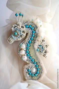 "Брошь - морская лошадка ""Lola"". Handmade."