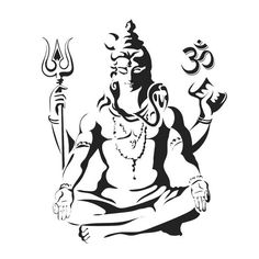 Lord Shiva in the lotus position. Black and white vectir illustration - stock vector Arte Shiva, Mahakal Shiva, Shiva Art, Krishna, Buddha Tattoos, Shiva Tattoo Design, Lord Shiva Hd Wallpaper, Lotus Position, Lord Shiva Painting