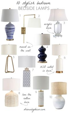 Love all of these bedroom lights - such stylish bedside lamps!
