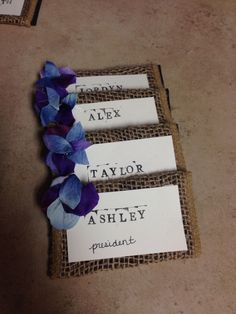 southern recruitment theme name tags with burlap--and roses, of course