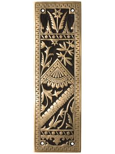 Oriental Pattern Push Plate In Solid, Cast Bronze | House of Antique Hardware