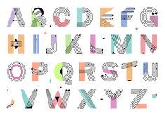 Illustration about Creative geometric Alphabet. Postmodernist design typeface in Memphis style. Hand Lettering Fonts, Creative Lettering, Lettering Tutorial, Typography Logo, Lettering Design, Alphabet Stickers, Alphabet Art, Design Fonte, Abc Font