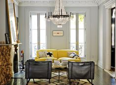 jenna lyons home. stunning. love the yellow couch!
