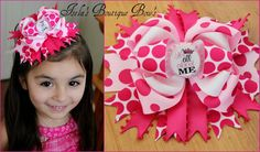Hot Pink Its All About Me Bottle Cap Hair Bow  $7