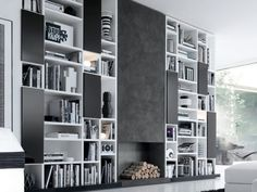 sexy black and white wall shelves idea 520x390 Wall Shelves Design by Carol Schoenfeld