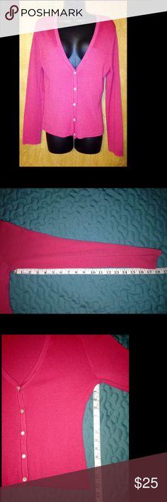 J Jill Knit Cardigan Sweater Womens J Jill Knit Shirt Top Cardigan Pink Fuchsia Sweater Size Medium. J. Jill Sweaters Cardigans