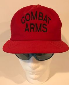 f1477fe8 Details about Vintage US Army Red Black Combat Arms Trucker Style SnapBack  Hat USA