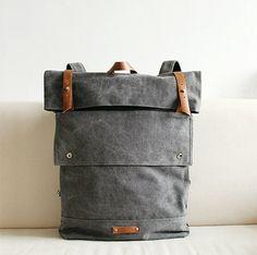 Vogue Grey Leather Canvas Backpack, BACKPACK,with handles,Messenger bag,Travel Bag,School bag door SoBag1989 op Etsy https://www.etsy.com/nl/listing/207716451/vogue-grey-leather-canvas-backpack