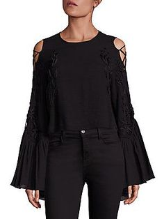 Alice McCall A Love Like That Lace Up Sleeve Cold Shoulder Top