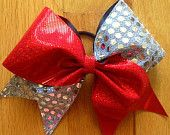 Red and sequin silver cheer bow.