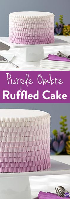 How to Make an Ombre Ruffled Cake - Ombre and ruffles are hot and trending, just like this stunning purple cake! You can easily create the ruffled look with the Wilton Lace Fondant and Gum Paste Mold.