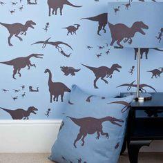Popular D uya think e saurus boys dinosaur wallpaper blue with lampshade and