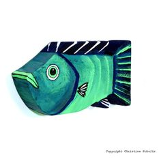 Reclaimed Wood Fish Art Painted Green and Blue by TaylorArts, $60.00
