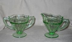 Liberty Works Egg Harbor Cream & Sugar Set circa 1929 Uranium Glass by LovesVintageFinds