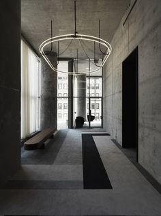 56 Leonard Street - New York - Herzog & de Meuron Architekten - Dada Contract Lobby Interior, Interior Lighting, Interior Architecture, Industrial Office Design, Office Interior Design, Linear Lighting, Lighting Design, Leonard Street, Elevator Lobby