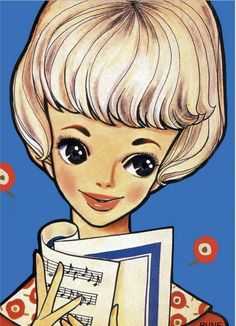 A retro postcard with an illustration of a fashionable / oshare lady with a music sheet. The illustration is by the Japanese shojo manga artist, Rune Naito. Japanese Illustration, Retro Illustration, Vintage Illustrations, Coloring Book Art, Old Anime, Manga Artist, Sketchbook Inspiration, Manga Drawing, Big Eyes