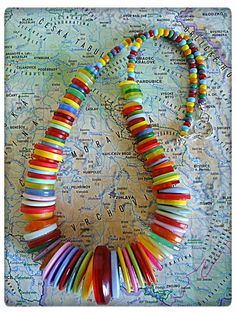 Summer button necklace