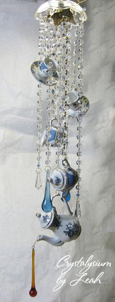 """""""Abigail's Tea House"""" vintage crystal sun catcher / wind chime. by Leah. Sold."""