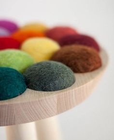 """Norweigen product designer Aud Julie Befring has created a stool from birch and felted wool. """"Inspired by the lambs on the spring fields, this colourful stool made in birch and felted wool came to. Funky Furniture, Furniture Design, Furniture Inspiration, Design Inspiration, Norway Design, Wool Felt, Felted Wool, Chair Design, Crafty"""