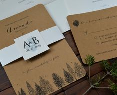 Pine Trees / Pine Cone Design Winter Wedding Invitation Set with Belly Band, craft card stock, snow marriage ceremony invitations