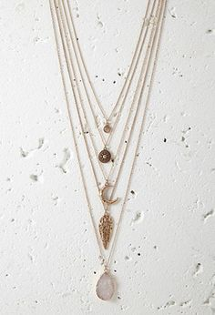 Layered Faux Stone Necklace | Forever 21 - 1000172017