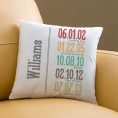 Striking cotton canvas pillow tells the story of your family's unique place in time with up to 5 colorful dates. With your family name printed on the s First Mothers Day, Mother Day Gifts, Gifts For Mom, Grandma Gifts, Personalized Pillows, Personalized Gifts, Sewing Pillows, How To Make Pillows, Sewing Projects
