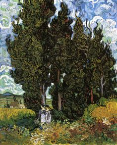 Cypresses with Two Women, 1889 ~ Vincent van Gogh