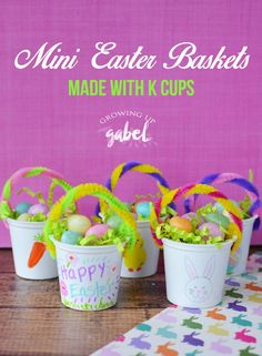 CLICK NOW for an easy tutorial on how to make DIY mini Easter baskets with the kids using K Cups and simple craft supplies. Fill with jelly beans, Easter grass, or candy.