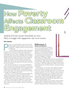 Effects of Poverty in the classroom--excellent article including tips for teachers/parents on how to help