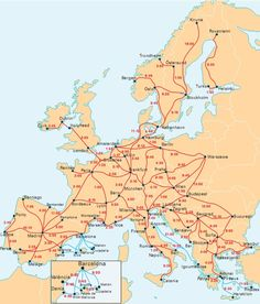 InterRail map with travel times between popular destinations