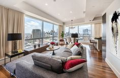 Living room with a view of Manhattan skyline