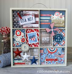 Celebrate America Memory Tray decorated with Americana Scrapbooking  supplies