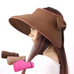 Women's Summer Straw Sun Visor  Wide Brim Beach Hat Folding