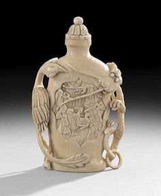 Chinese Ivory Snuff Bottle, first half century, surface-carved with a dragon and phoenix Antique Perfume Bottles, Vintage Bottles, Chinese Culture, Chinese Art, Chinese Painting, In Memory Of Dad, Bottle Box, Small Bottles, Ancient China