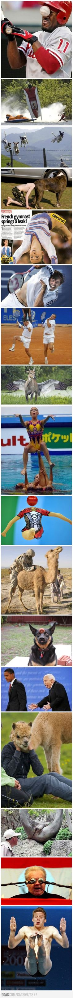 Some pictures taken at the right time. The gymnast is an example of a high level athlete experiencing urinary incontinence - a common problem in many sports